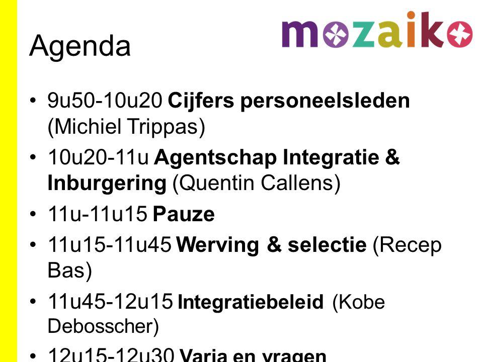 Agenda 9u50-10u20 Cijfers personeelsleden (Michiel Trippas) 10u20-11u Agentschap Integratie & Inburgering (Quentin Callens) 11u-11u15 Pauze 11u15-11u45 Werving & selectie (Recep Bas) 11u45-12u15 Integratiebeleid (Kobe Debosscher) 12u15-12u30 Varia en vragen
