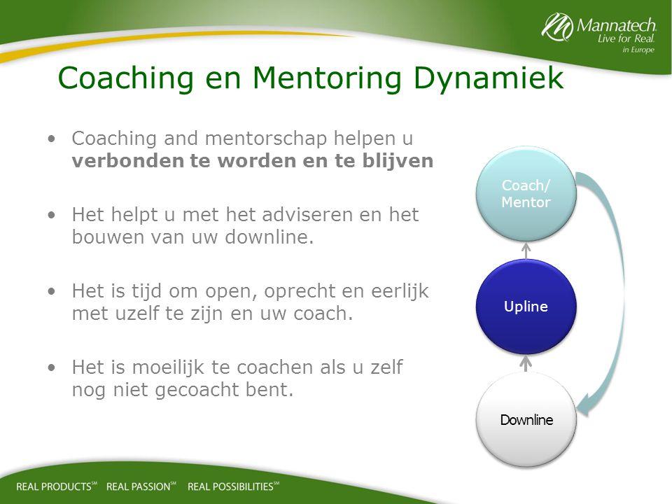 Coaching and mentorschap helpen u verbonden te worden en te blijven Het helpt u met het adviseren en het bouwen van uw downline.