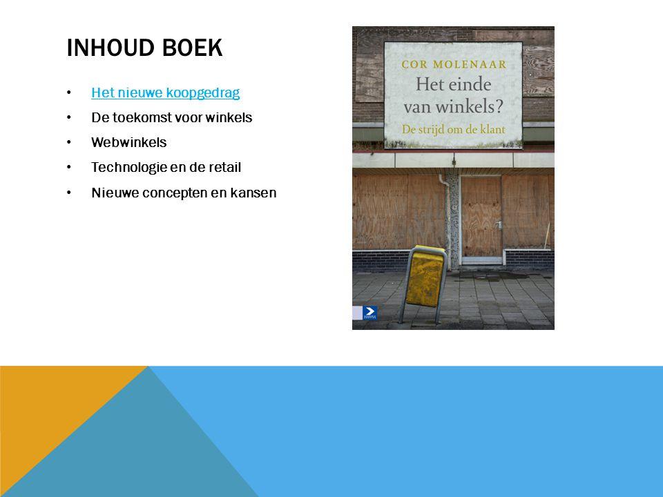 INHOUD BOEK Het nieuwe koopgedrag De toekomst voor winkels Webwinkels Technologie en de retail Nieuwe concepten en kansen