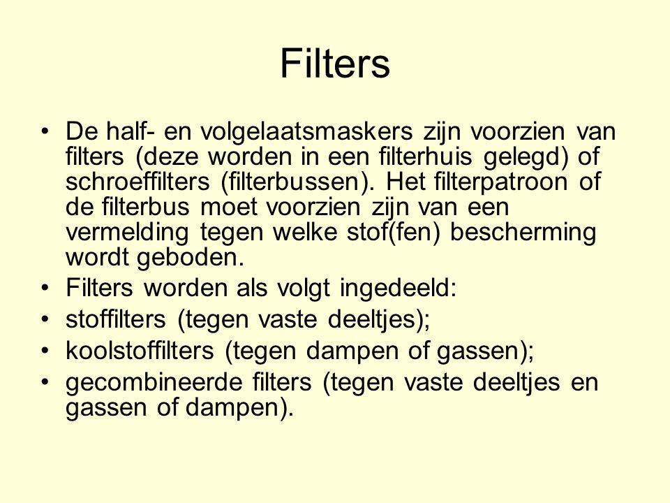 Filters De half ‑ en volgelaatsmaskers zijn voorzien van filters (deze worden in een filterhuis gelegd) of schroeffilters (filterbussen).