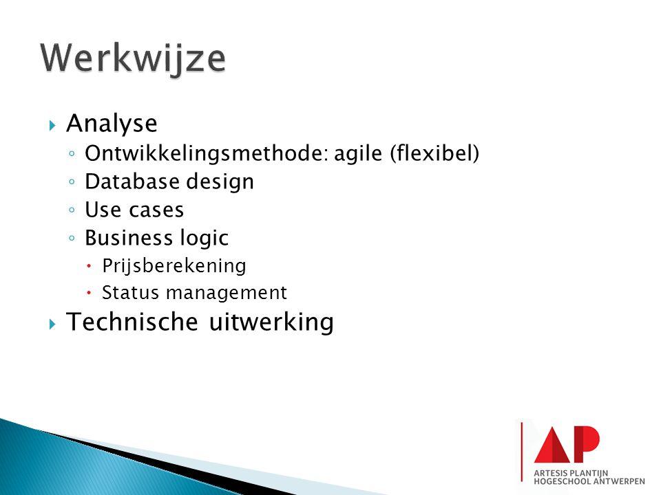  Analyse ◦ Ontwikkelingsmethode: agile (flexibel) ◦ Database design ◦ Use cases ◦ Business logic  Prijsberekening  Status management  Technische uitwerking