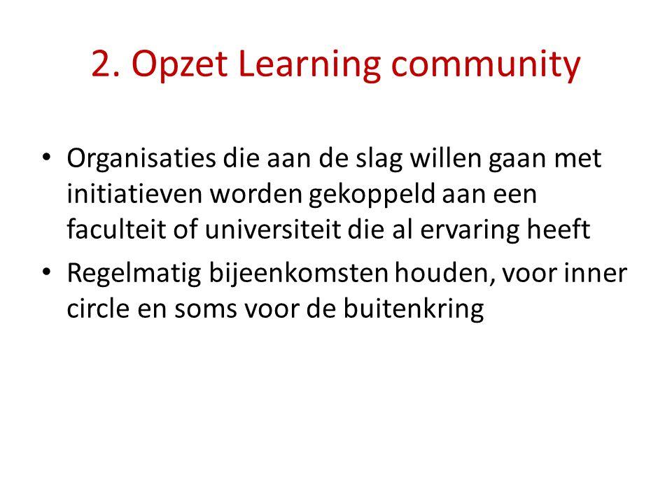 2. Opzet Learning community Organisaties die aan de slag willen gaan met initiatieven worden gekoppeld aan een faculteit of universiteit die al ervari