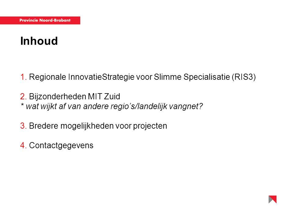 1. Regionale InnovatieStrategie voor Slimme Specialisatie (RIS3) 2. Bijzonderheden MIT Zuid * wat wijkt af van andere regio's/landelijk vangnet? 3. Br
