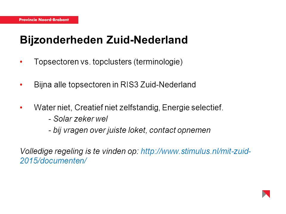 Bijzonderheden Zuid-Nederland Topsectoren vs. topclusters (terminologie) Bijna alle topsectoren in RIS3 Zuid-Nederland Water niet, Creatief niet zelfs