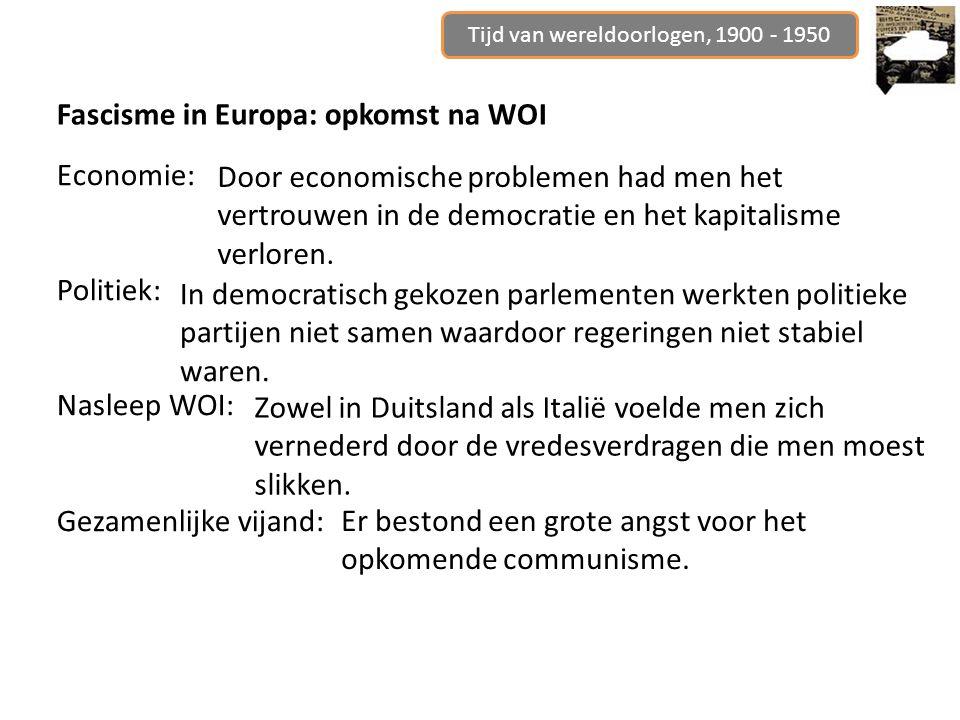 Tijd van wereldoorlogen, 1900 - 1950 Fascisme in Europa: opkomst na WOI Economie: Politiek: Nasleep WOI: Gezamenlijke vijand: In democratisch gekozen