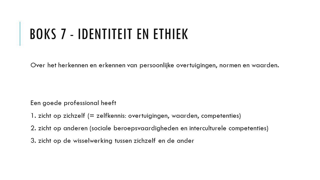 BOKS 7 - IDENTITEIT EN ETHIEK Over het herkennen en erkennen van persoonlijke overtuigingen, normen en waarden. Een goede professional heeft 1. zicht