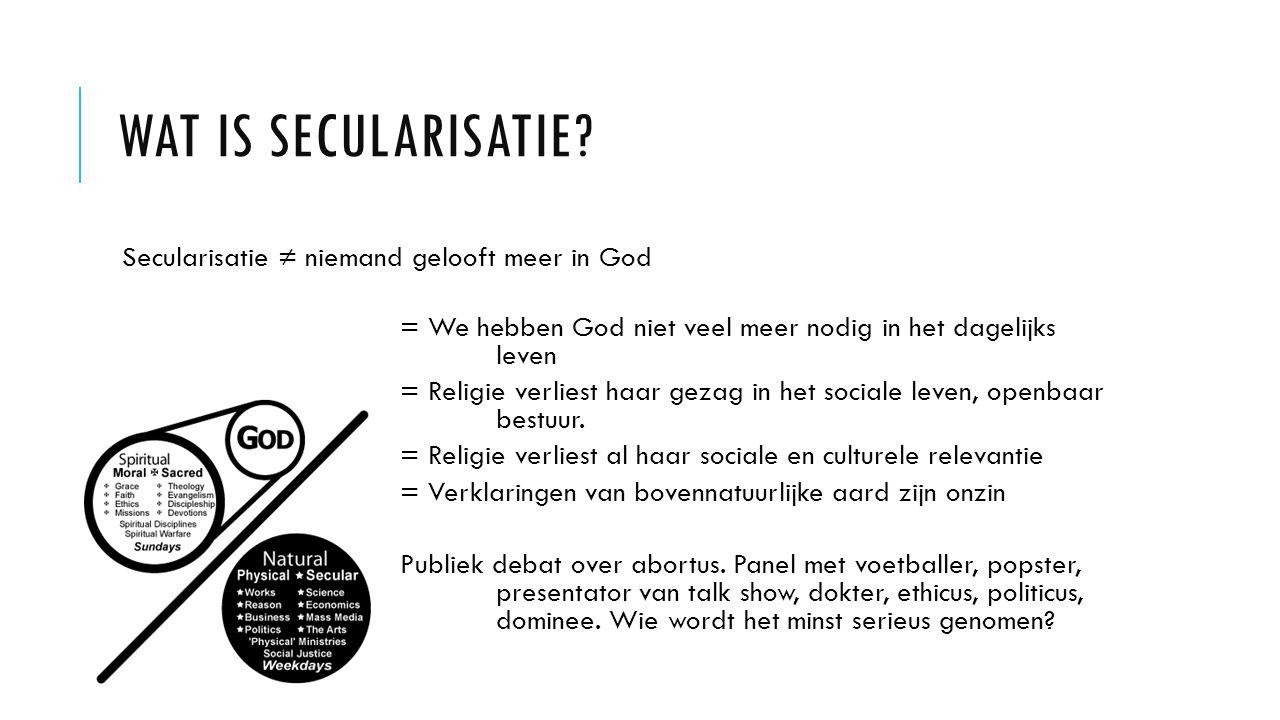 WAT IS SECULARISATIE? Secularisatie ≠ niemand gelooft meer in God = We hebben God niet veel meer nodig in het dagelijks leven = Religie verliest haar