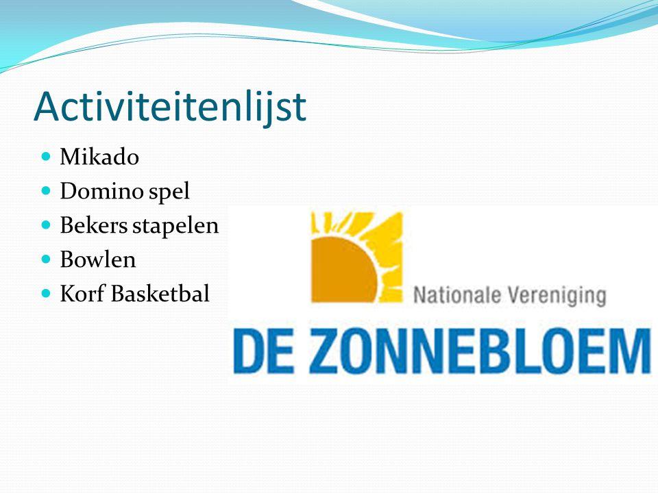 Activiteitenlijst Mikado Domino spel Bekers stapelen Bowlen Korf Basketbal