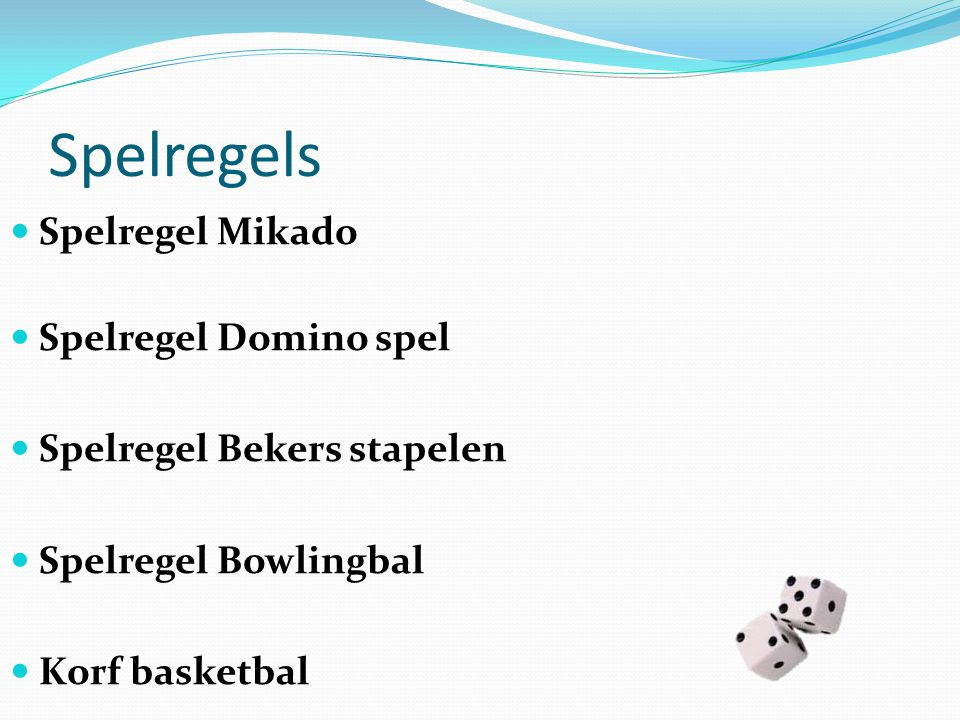 Spelregels Spelregel Mikado Spelregel Domino spel Spelregel Bekers stapelen Spelregel Bowlingbal Korf basketbal