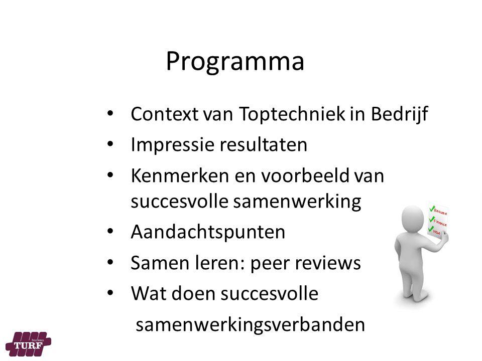 Programma Context van Toptechniek in Bedrijf Impressie resultaten Kenmerken en voorbeeld van succesvolle samenwerking Aandachtspunten Samen leren: peer reviews Wat doen succesvolle samenwerkingsverbanden