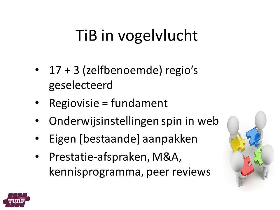 TiB in vogelvlucht 17 + 3 (zelfbenoemde) regio's geselecteerd Regiovisie = fundament Onderwijsinstellingen spin in web Eigen [bestaande] aanpakken Prestatie-afspraken, M&A, kennisprogramma, peer reviews