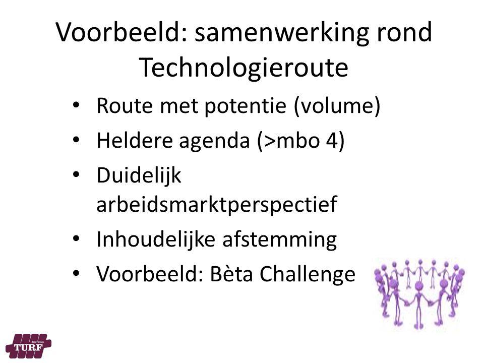 Voorbeeld: samenwerking rond Technologieroute Route met potentie (volume) Heldere agenda (>mbo 4) Duidelijk arbeidsmarktperspectief Inhoudelijke afstemming Voorbeeld: Bèta Challenge