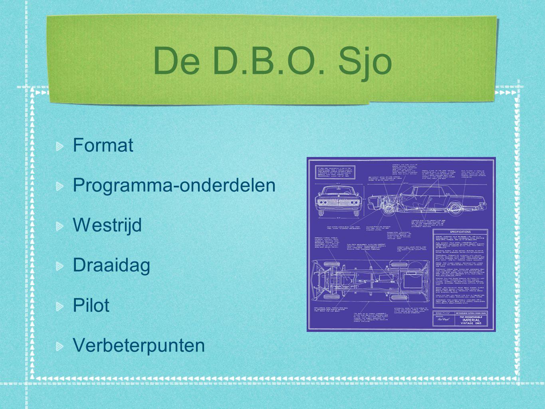 De D.B.O. Sjo Format Programma-onderdelen Westrijd Draaidag Pilot Verbeterpunten