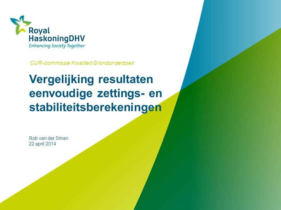 Vergelijking resultaten eenvoudige zettings- en stabiliteitsberekeningen CUR-commissie Kwaliteit Grondonderzoek Rob van der Sman 22 april 2014