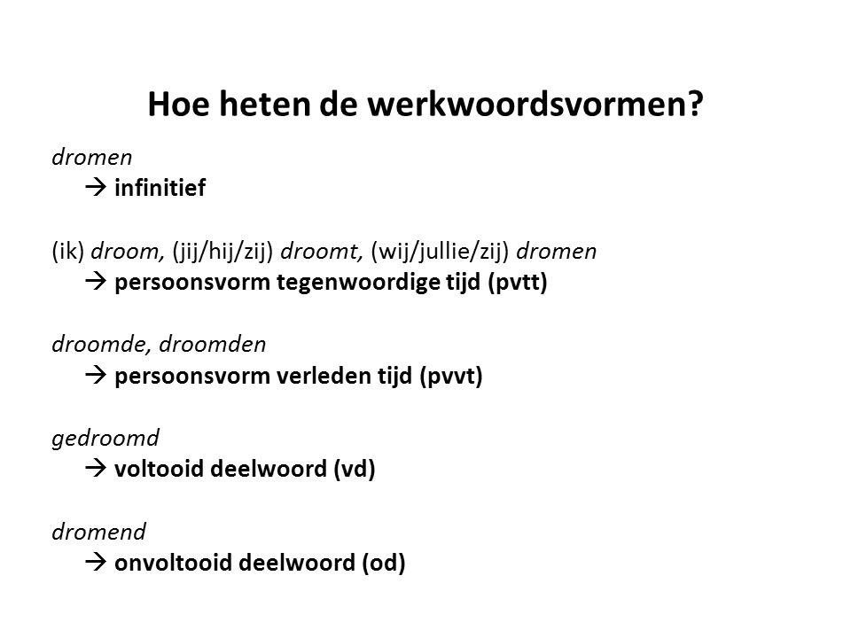 Hoe heten de werkwoordsvormen? dromen  infinitief (ik) droom, (jij/hij/zij) droomt, (wij/jullie/zij) dromen  persoonsvorm tegenwoordige tijd (pvtt)
