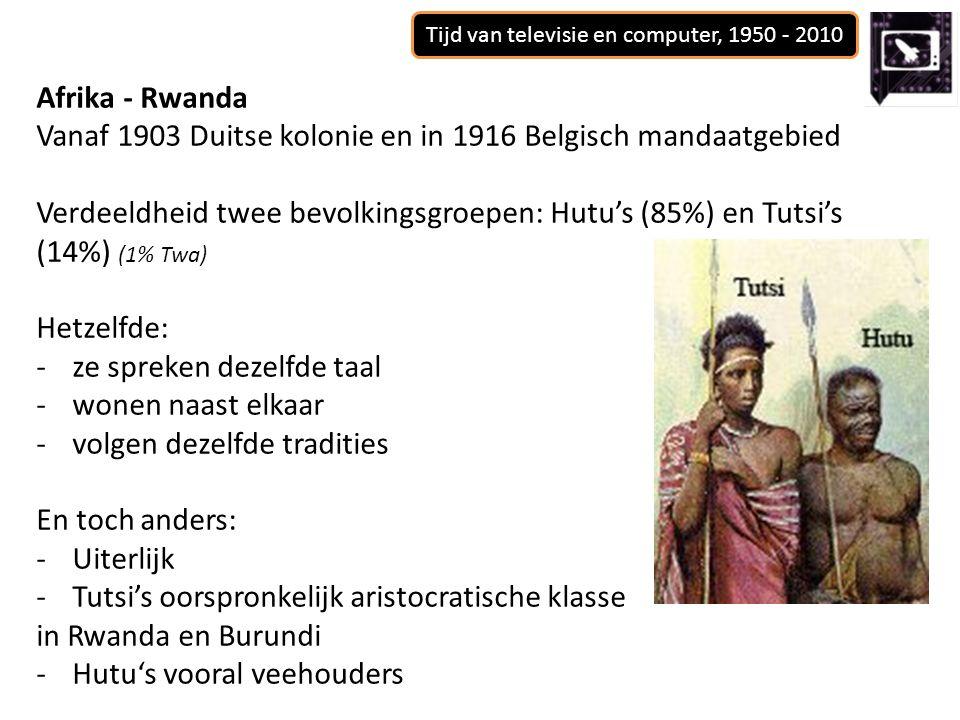 Afrika - Rwanda Vanaf 1903 Duitse kolonie en in 1916 Belgisch mandaatgebied Verdeeldheid twee bevolkingsgroepen: Hutu's (85%) en Tutsi's (14%) (1% Twa) Hetzelfde: -ze spreken dezelfde taal -wonen naast elkaar -volgen dezelfde tradities En toch anders: -Uiterlijk -Tutsi's oorspronkelijk aristocratische klasse in Rwanda en Burundi -Hutu's vooral veehouders