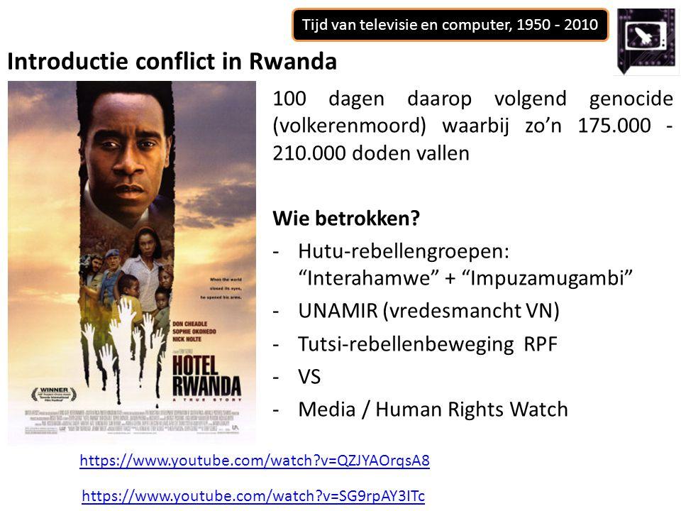 Tijd van televisie en computer, 1950 - 2010 100 dagen daarop volgend genocide (volkerenmoord) waarbij zo'n 175.000 - 210.000 doden vallen Wie betrokken.