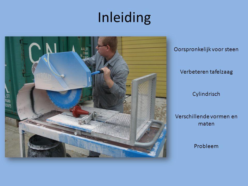 Inleiding Oorspronkelijk voor steen Verbeteren tafelzaag Cylindrisch Verschillende vormen en maten Probleem