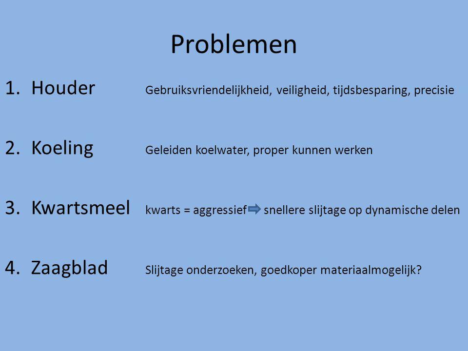 Problemen 1.Houder Gebruiksvriendelijkheid, veiligheid, tijdsbesparing, precisie 2.Koeling Geleiden koelwater, proper kunnen werken 3.Kwartsmeel kwart