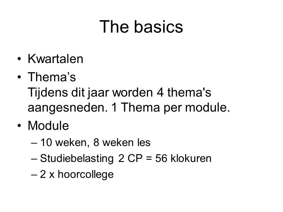 The basics Kwartalen Thema's Tijdens dit jaar worden 4 thema s aangesneden.