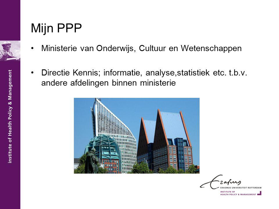 Mijn PPP Ministerie van Onderwijs, Cultuur en Wetenschappen Directie Kennis; informatie, analyse,statistiek etc.