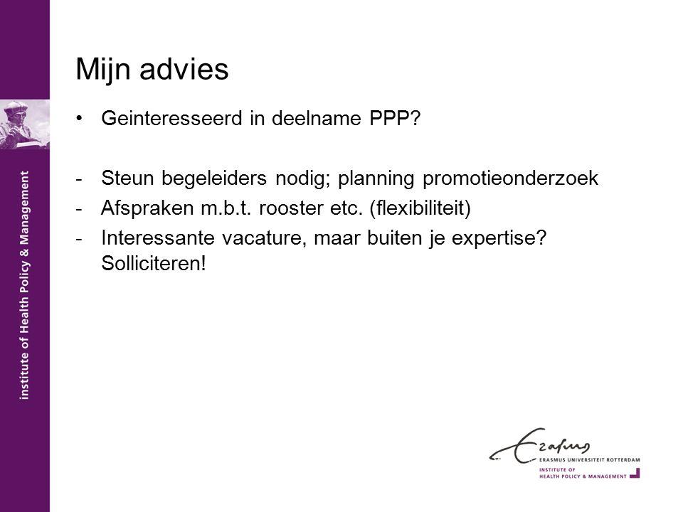 Mijn advies Geinteresseerd in deelname PPP.