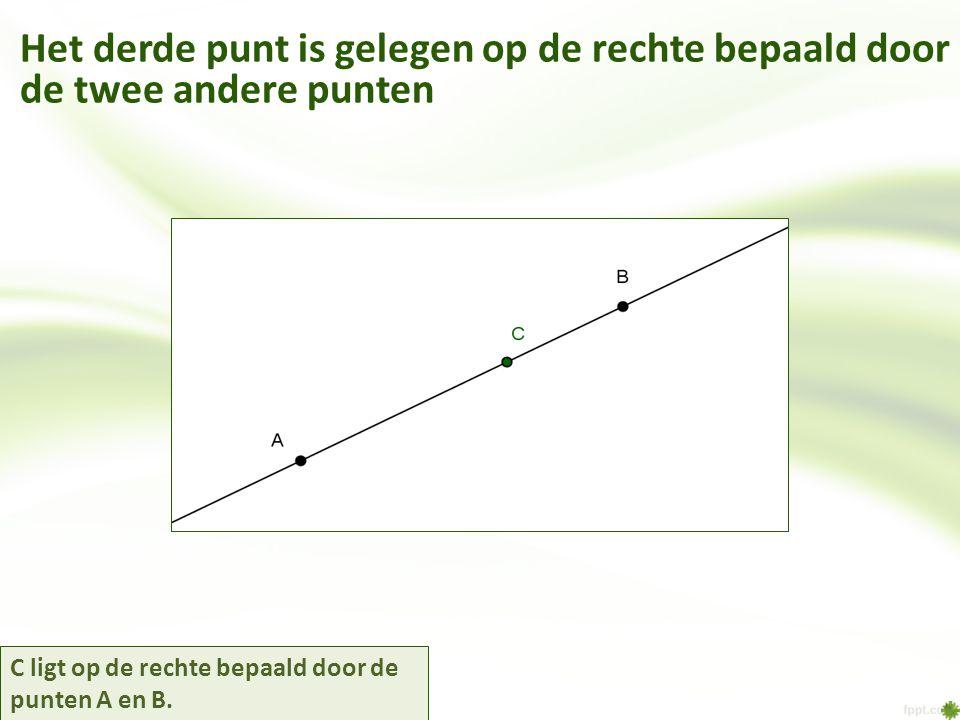 Het derde punt is gelegen op de rechte bepaald door de twee andere punten C ligt op de rechte bepaald door de punten A en B.
