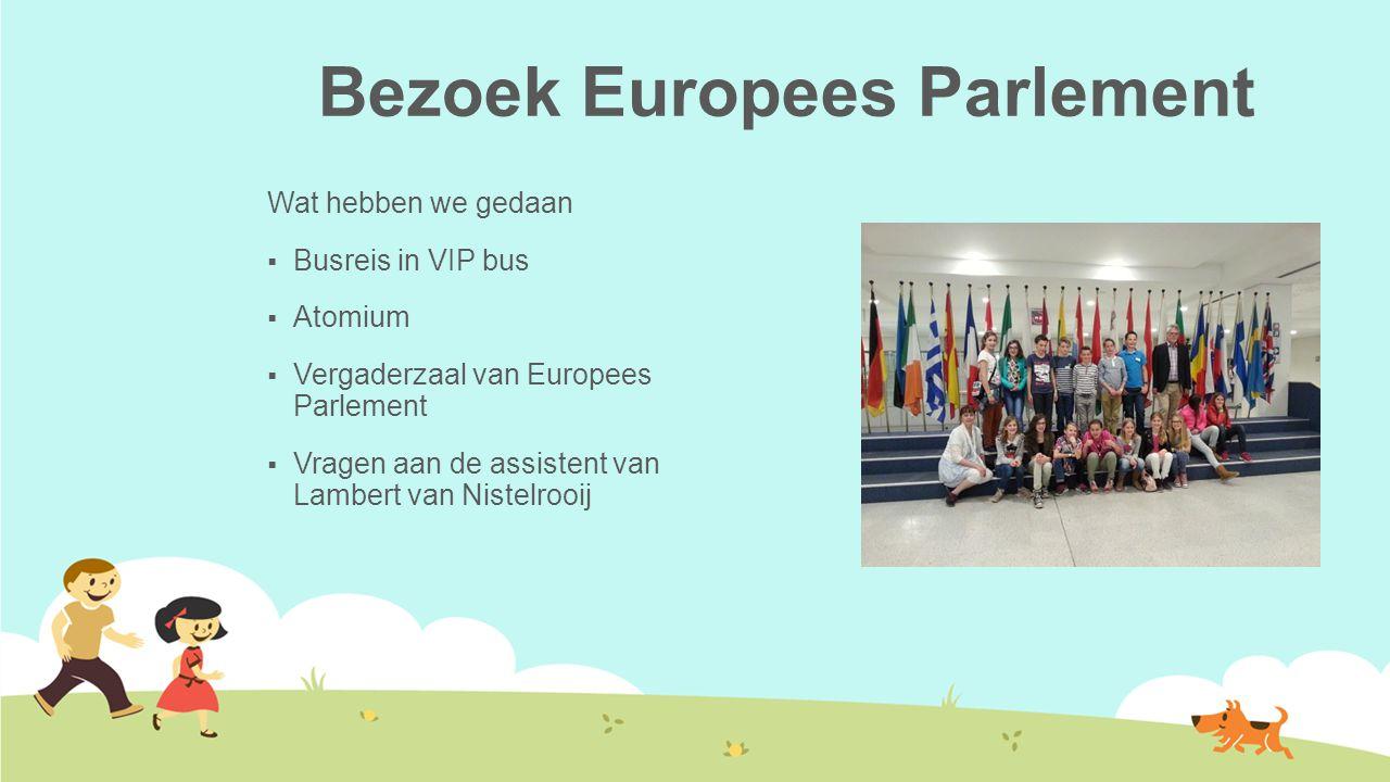 Bezoek Europees Parlement Wat hebben we gedaan  Busreis in VIP bus  Atomium  Vergaderzaal van Europees Parlement  Vragen aan de assistent van Lambert van Nistelrooij