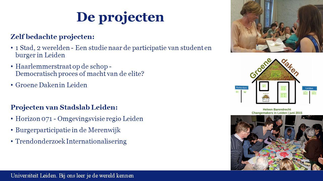 De projecten Zelf bedachte projecten: 1 Stad, 2 werelden - Een studie naar de participatie van student en burger in Leiden Haarlemmerstraat op de scho