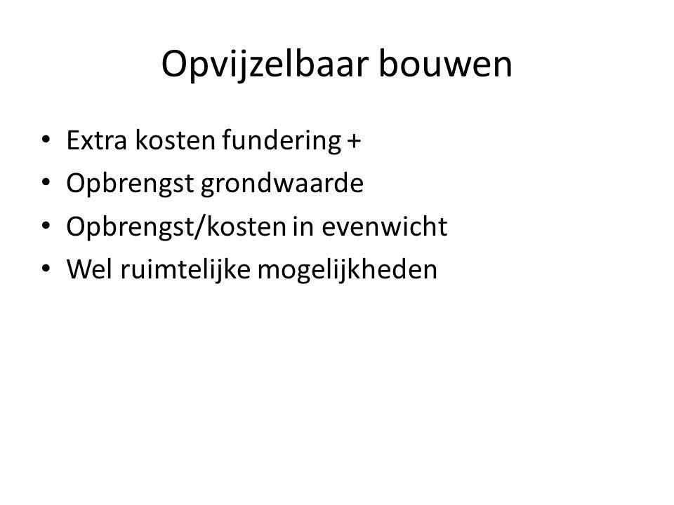 Opvijzelbaar bouwen Extra kosten fundering + Opbrengst grondwaarde Opbrengst/kosten in evenwicht Wel ruimtelijke mogelijkheden