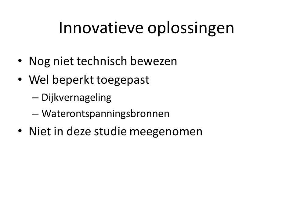 Innovatieve oplossingen Nog niet technisch bewezen Wel beperkt toegepast – Dijkvernageling – Waterontspanningsbronnen Niet in deze studie meegenomen