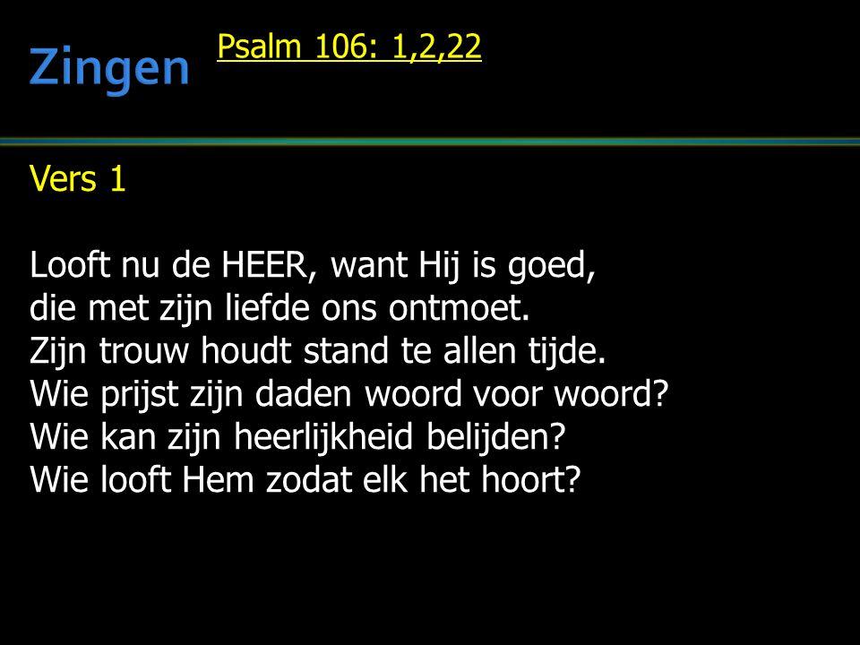 Vers 1 Looft nu de HEER, want Hij is goed, die met zijn liefde ons ontmoet. Zijn trouw houdt stand te allen tijde. Wie prijst zijn daden woord voor wo