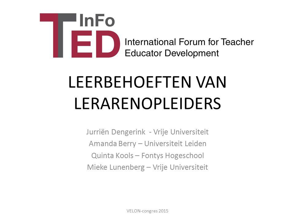 LEERBEHOEFTEN VAN LERARENOPLEIDERS Jurriën Dengerink - Vrije Universiteit Amanda Berry – Universiteit Leiden Quinta Kools – Fontys Hogeschool Mieke Lu