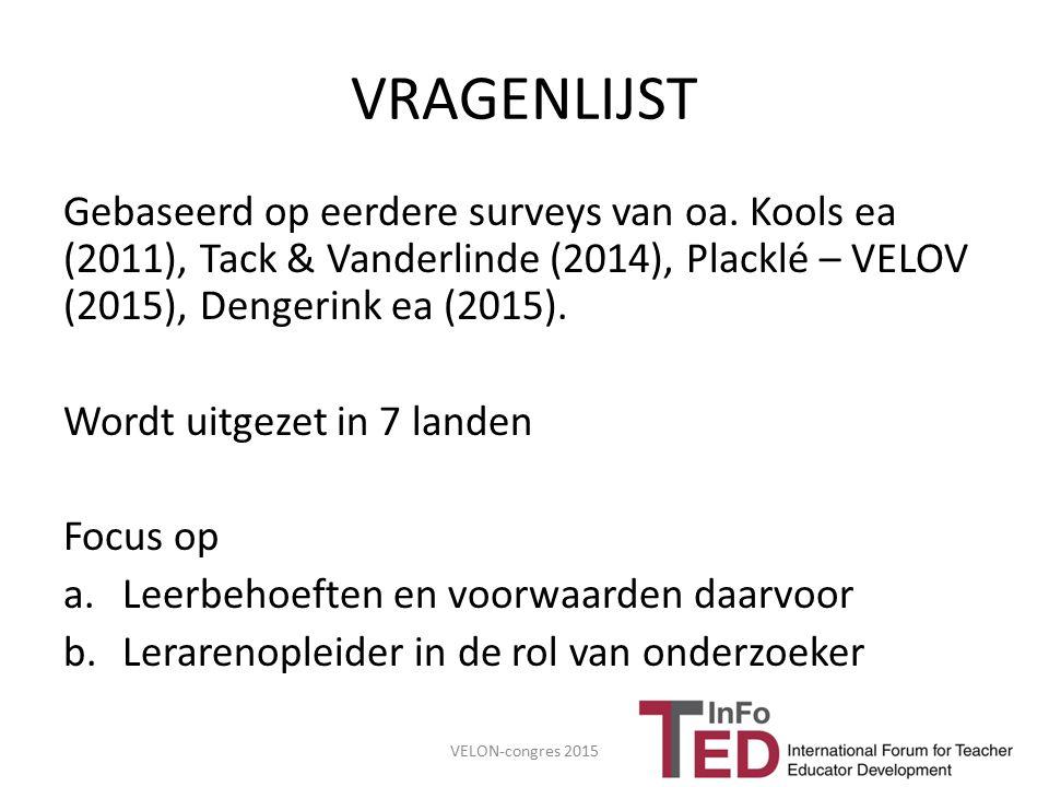 VRAGENLIJST Gebaseerd op eerdere surveys van oa. Kools ea (2011), Tack & Vanderlinde (2014), Placklé – VELOV (2015), Dengerink ea (2015). Wordt uitgez