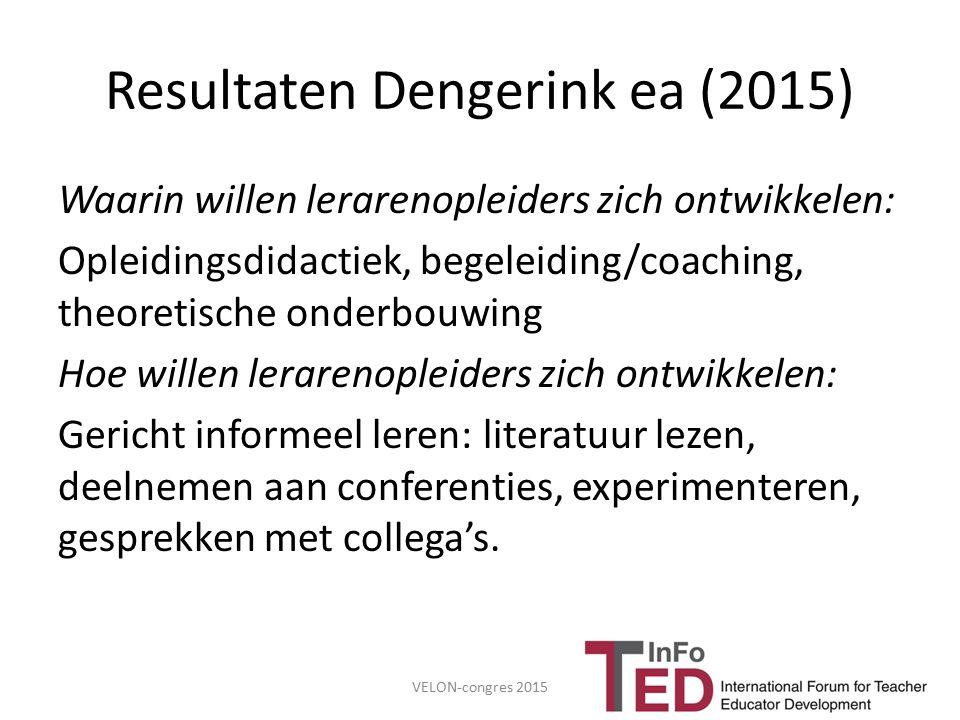 Resultaten Dengerink ea (2015) Waarin willen lerarenopleiders zich ontwikkelen: Opleidingsdidactiek, begeleiding/coaching, theoretische onderbouwing H