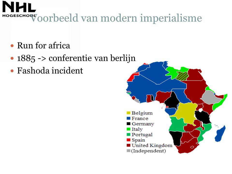 Voorbeeld van modern imperialisme Run for africa 1885 -> conferentie van berlijn Fashoda incident