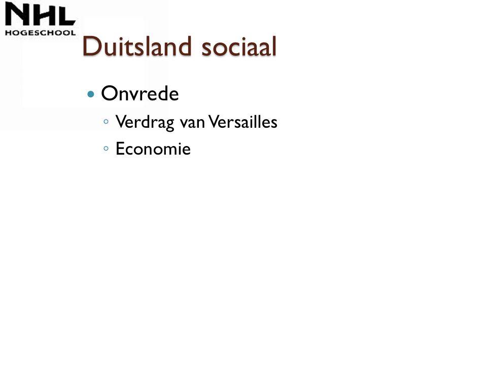 Duitsland sociaal Onvrede ◦ Verdrag van Versailles ◦ Economie