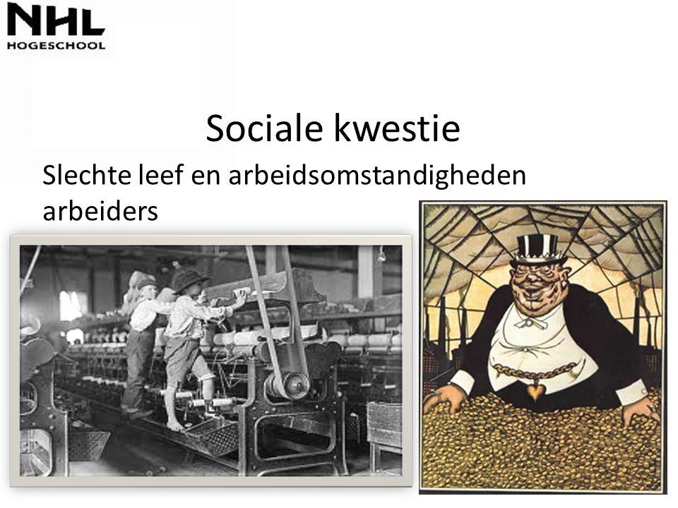 Sociale kwestie Slechte leef en arbeidsomstandigheden arbeiders