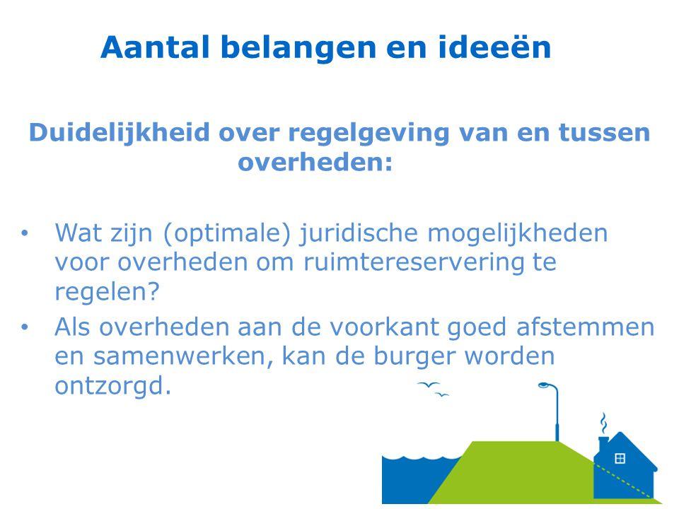 Duidelijkheid over regelgeving van en tussen overheden: Wat zijn (optimale) juridische mogelijkheden voor overheden om ruimtereservering te regelen.