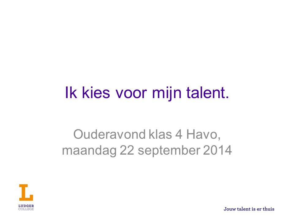 Ik kies voor mijn talent. Ouderavond klas 4 Havo, maandag 22 september 2014