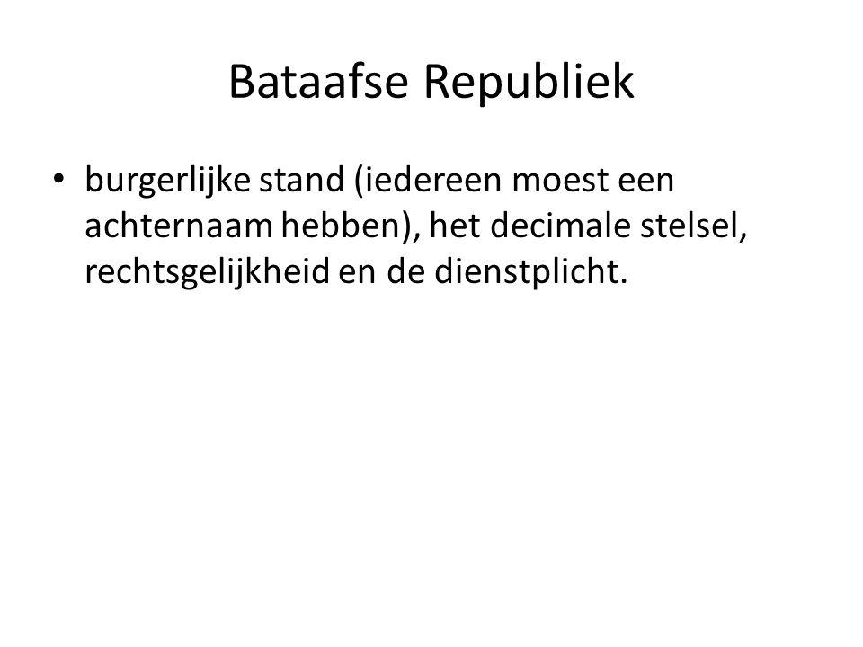 Bataafse Republiek burgerlijke stand (iedereen moest een achternaam hebben), het decimale stelsel, rechtsgelijkheid en de dienstplicht.