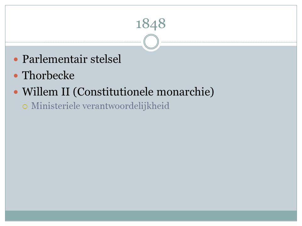 1848 Parlementair stelsel Thorbecke Willem II (Constitutionele monarchie)  Ministeriele verantwoordelijkheid