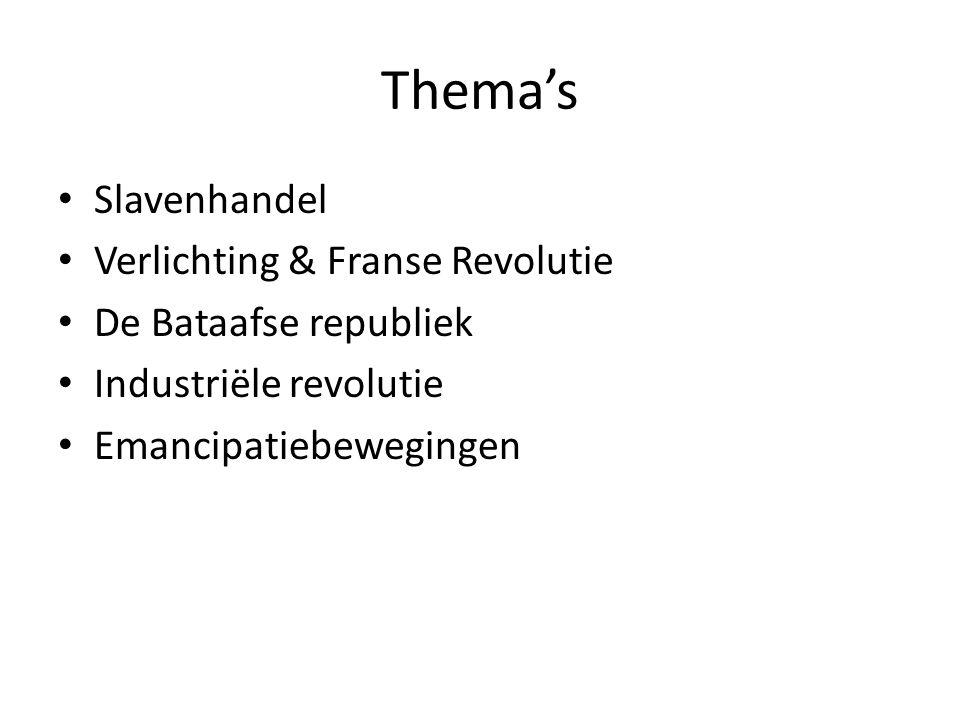 Thema's Slavenhandel Verlichting & Franse Revolutie De Bataafse republiek Industriële revolutie Emancipatiebewegingen