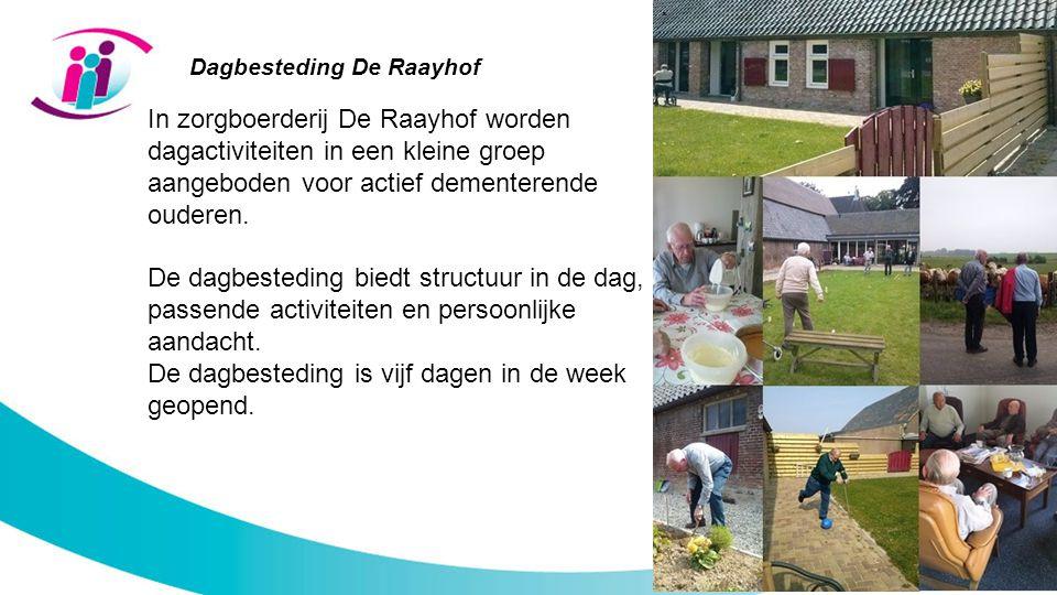 Dagbesteding De Raayhof In zorgboerderij De Raayhof worden dagactiviteiten in een kleine groep aangeboden voor actief dementerende ouderen. De dagbest
