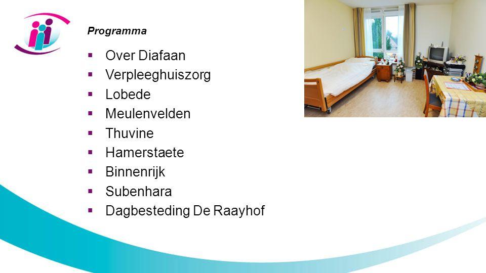 Programma  Over Diafaan  Verpleeghuiszorg  Lobede  Meulenvelden  Thuvine  Hamerstaete  Binnenrijk  Subenhara  Dagbesteding De Raayhof