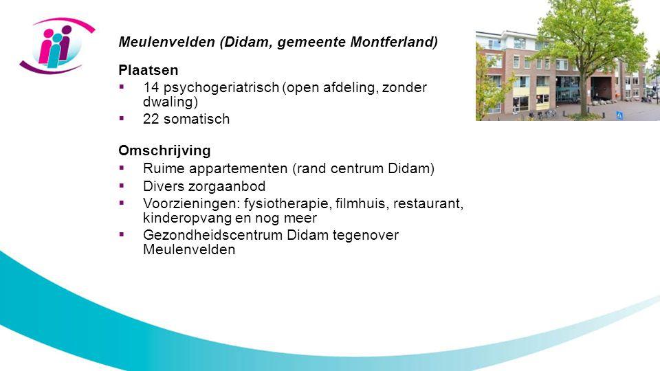 Meulenvelden (Didam, gemeente Montferland) Plaatsen  14 psychogeriatrisch (open afdeling, zonder dwaling)  22 somatisch Omschrijving  Ruime apparte