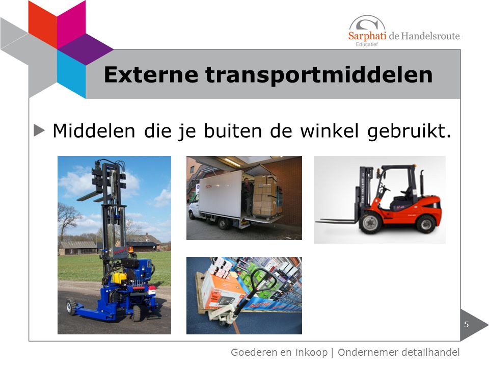 5 Goederen en inkoop | Ondernemer detailhandel Externe transportmiddelen Middelen die je buiten de winkel gebruikt.
