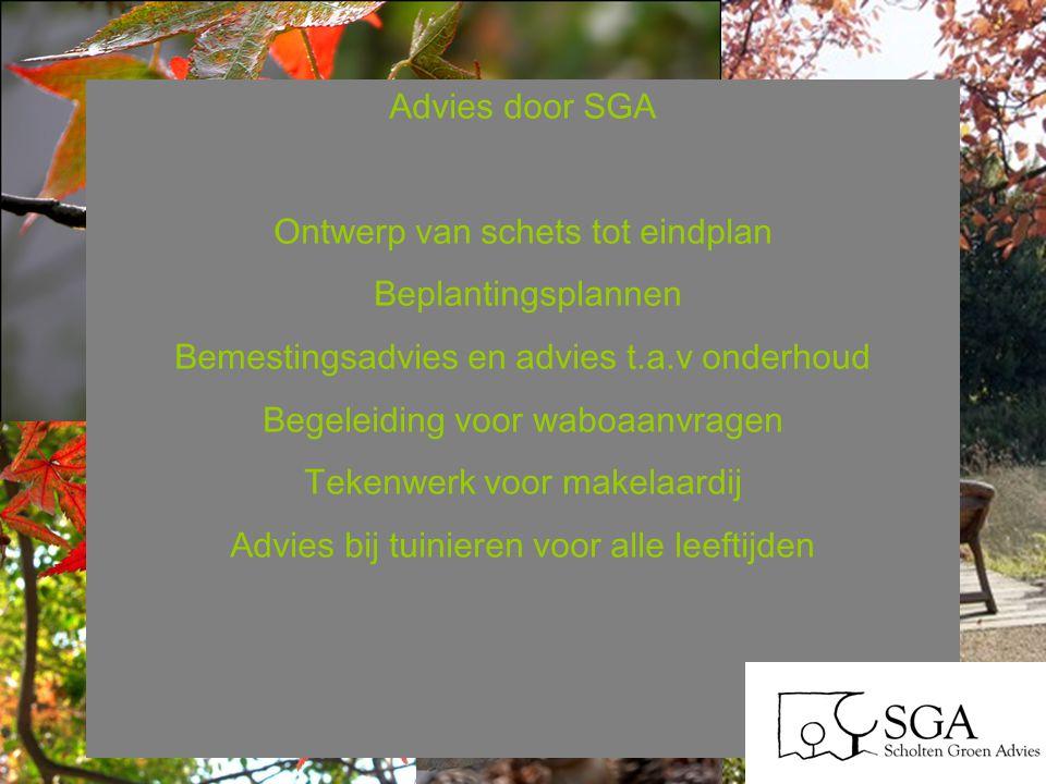Advies door SGA Ontwerp van schets tot eindplan Beplantingsplannen Bemestingsadvies en advies t.a.v onderhoud Begeleiding voor waboaanvragen Tekenwerk voor makelaardij Advies bij tuinieren voor alle leeftijden