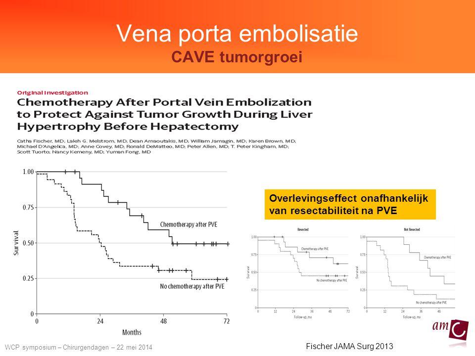 WCP symposium – Chirurgendagen – 22 mei 2014 Vena porta embolisatie CAVE tumorgroei Fischer JAMA Surg 2013 Overlevingseffect onafhankelijk van resectabiliteit na PVE