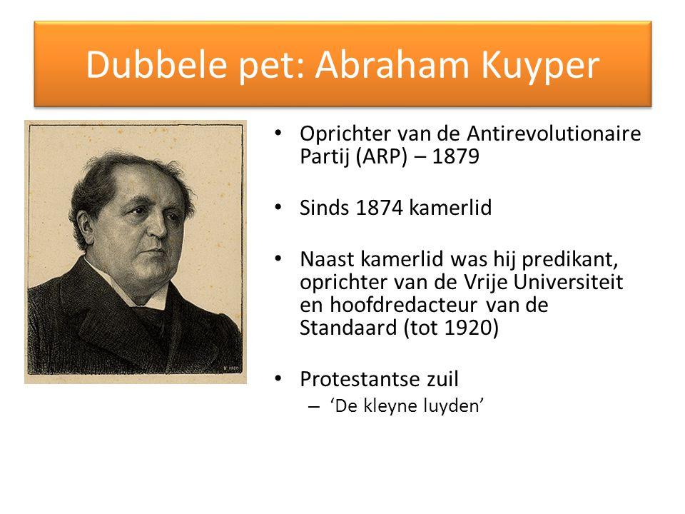 Dubbele pet: Abraham Kuyper Oprichter van de Antirevolutionaire Partij (ARP) – 1879 Sinds 1874 kamerlid Naast kamerlid was hij predikant, oprichter va